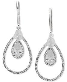 Silver-Tone Crystal Teardrop Orbital Drop Earrings