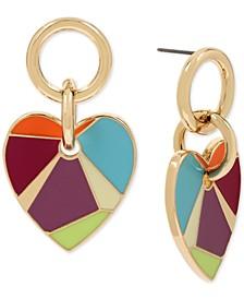 Gold-Tone Multicolor Mosaic Heart Drop Earrings
