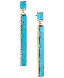 Gold-Tone Stone Stick Drop Earrings