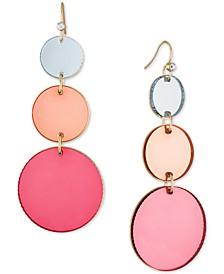 Gold-Tone Pink Disc Triple Drop Earrings