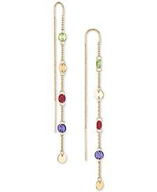 Gold-Tone Multicolor Disc Linear Earrings