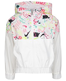 Little Girls Scribble-Print Hooded Wind Jacket