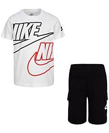 Little Boys 2-Pc. Graphic-Print T-Shirt & Cargo Shorts Set