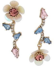 Gold-Tone Crystal Flower Mismatch Drop Earrings