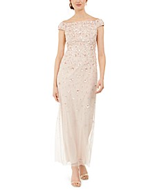 Off-The-Shoulder 3-D Beaded Gown