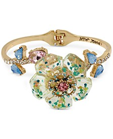 Gold-Tone Crystal Flower Bangle Bracelet