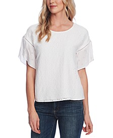 Eyelet Tulip-Sleeve Top