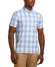 Men's Slim Fit Short Sleeve Check Poplin Shirt