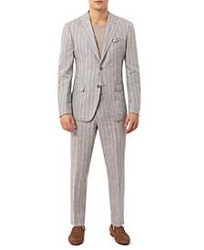 Men's Slim-Fit Wide Stripe Light Gray Linen Suit Separates