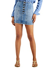 Juniors' Seams Like Indigo Cotton Denim Skirt