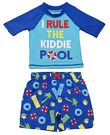Infant Boys 2 Piece Rashguard Set Featuring A Fun Pool Design