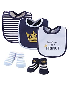 Baby Boys Handsome As A Prince Bib and Sock Set, Pack of 5