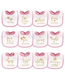 Baby Girls and Boys Brand Sparkling New Monthly Milestone Interlock Bibs, Pack of 13