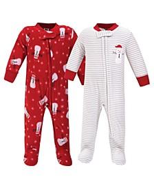 Baby Girls and Boys Santa Snowman Fleece Sleep and Play, Pack of 2