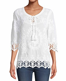 Embroidered Crochet-Lace Embroidered Top