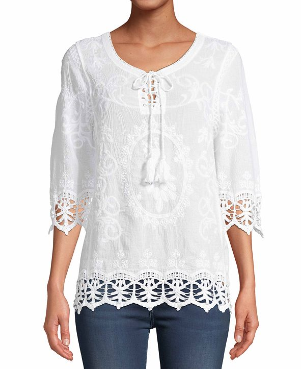 JPR Embroidered Crochet-Lace Embroidered Top