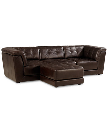 Stacey Leather 4 Piece Modular Sectional Sofa Armless