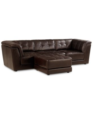 stacey leather 4piece modular sectional sofa armless chair 2 square corner units - Brown Leather Ottoman