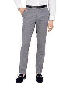 Men's Skinny-Fit Mid Blue Plaid Suit Pants