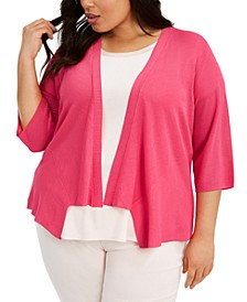 Plus Size Drape-Front Cardigan, Created for Macy's