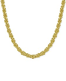 """Fine Silver Plated Rope Link 24"""" Chain Necklace"""