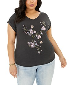 Plus Size Embroidered T-Shirt, Created for Macy's