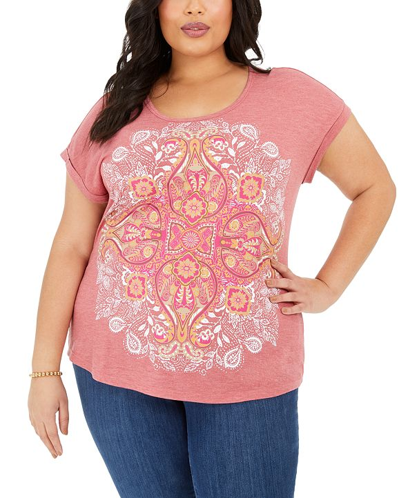 Style & Co Plus Size Graphic-Print T-Shirt, Created for Macy's
