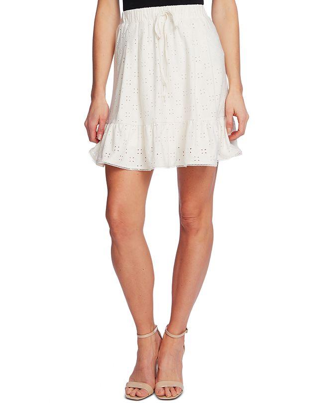 CeCe Drawstring-Waist Eyelet Mini Skirt