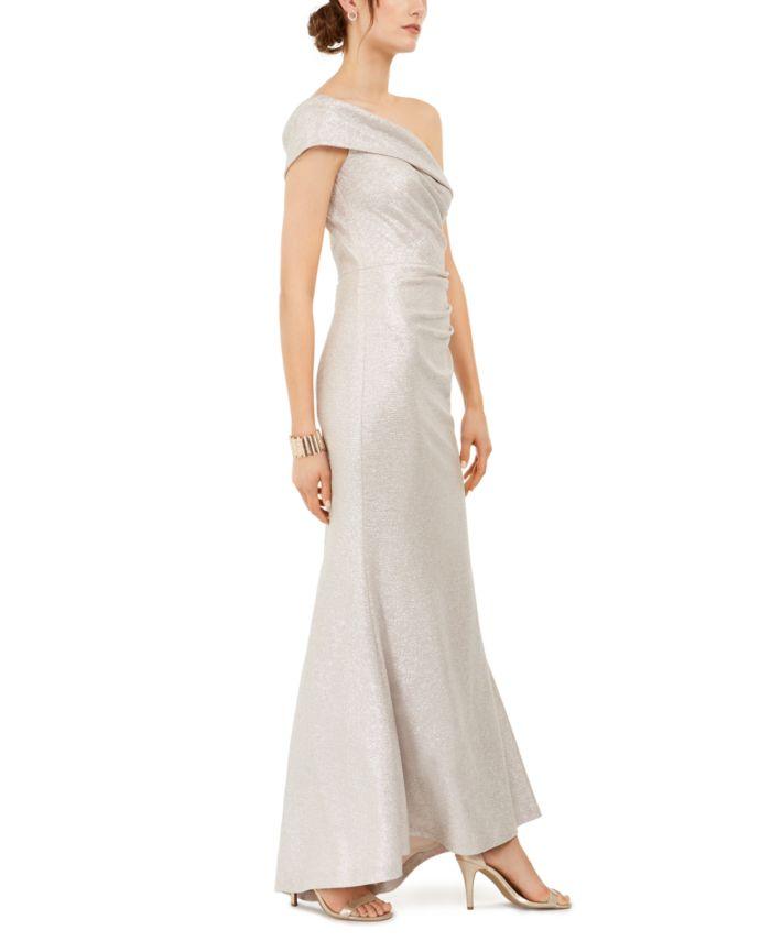 Eliza J Petite Metallic One-Shoulder Gown & Reviews - Dresses - Petites - Macy's