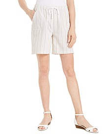 Plus Size Cotton Pull-On Striped Shorts, Created for Macy's