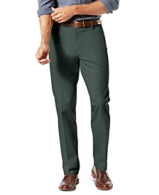 Men's Signature Lux Cotton Straight Fit Creased Stretch Khaki Pants