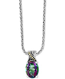 "EFFY® Mystic Topaz (10-7/8 ct. t.w.) 18"" Pendant Necklace in Sterling Silver & 18k Gold"