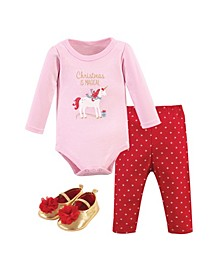 Baby Girls Magical Christmas Bodysuit, Pant and Shoe Set, Pack of 3