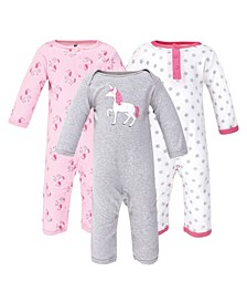 Baby Girls and Boys Unicorn Coveralls, Pack of 3