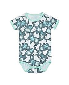 Baby Boys and Girls Snow Bears Short Sleeve Onesie