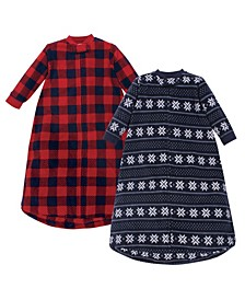 Baby Girls and Boys Sweater Plaid Long-Sleeve Fleece Sleeping Bag, Pack of 2