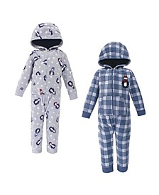 Baby Toddler Girls and Boys Penguin Fleece Jumpsuits, Coveralls and Playsuits, Pack of 2