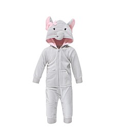 Baby Girls and Boys Pretty Elephant Fleece Jumpsuits, Coveralls and Playsuits