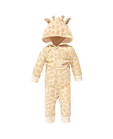 Baby Girls and Boys Giraffe Fleece Jumpsuits, Coveralls and Playsuits