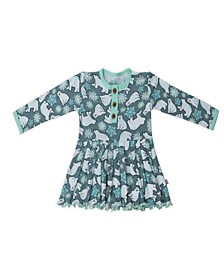 Baby Girls Snow Bears Three Button Dress