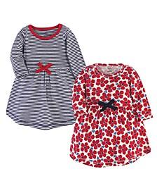 Toddler Girls Flowers Long-Sleeve Dresses, Pack of 2