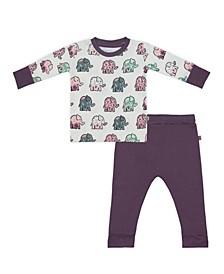 Baby Girls Majestic Elephants Loungewear Set