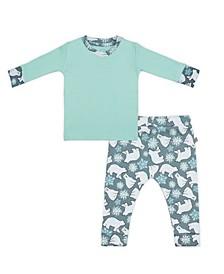Baby Boys and Girls Snow Bear Mint Loungewear Set