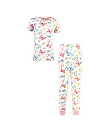 Big Girls and Boys Butterflies Tight-Fit Pajama Set, Pack of 2