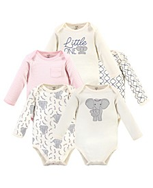 Baby Girls and Boys Elephant Long-Sleeve Bodysuits, Pack of 5
