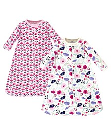 Baby Girls Botanical Long-Sleeve Wearable Sleeping Bag Sack, Pack of 2