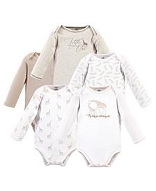 Baby Girls Little Giraffe Long-Sleeve Bodysuits, Pack of 5