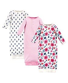 Baby Girls Garden Floral Henley Gowns, Pack of 3