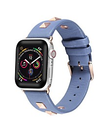 Men's and Women's Apple Blue Studded Leather Replacement Band 44mm