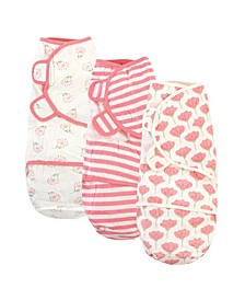 Baby Girls Tulip Swaddle Wraps, Pack of 3